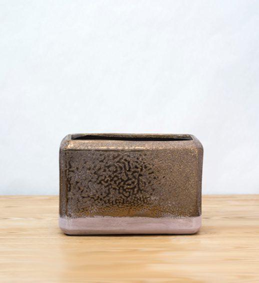 bronze ceramic planter