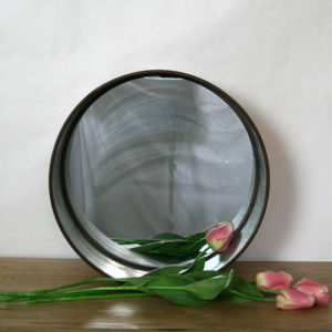 round metal mirror set