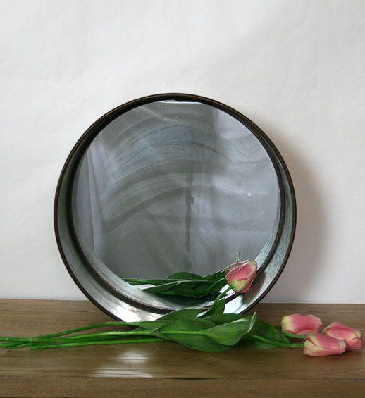 round metal mirror set