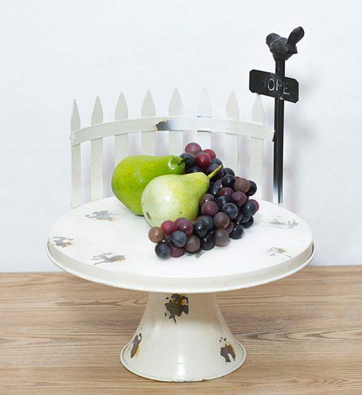 white tin cake plate
