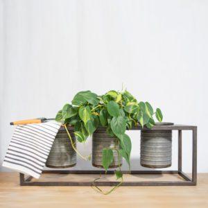 moorland galvanized triple planter