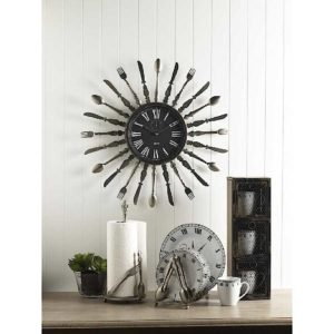 metal utensil wall clock