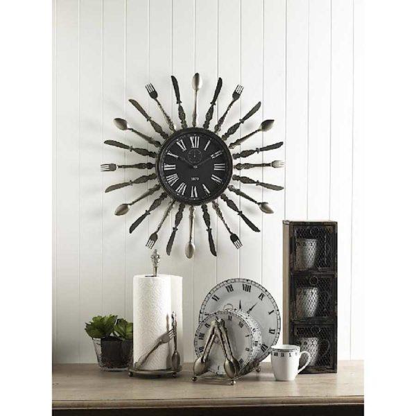 metal utensil wall clock
