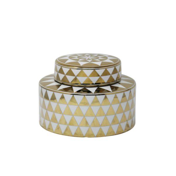 white geometric ceramic jar