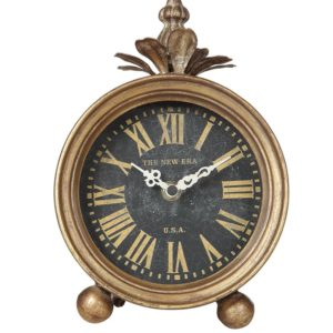 gold metal table clock