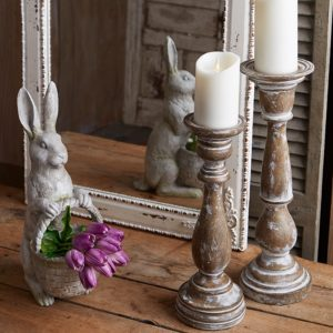 distressed wooden candle holders