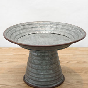 Galvanized Tin Pedestal Small