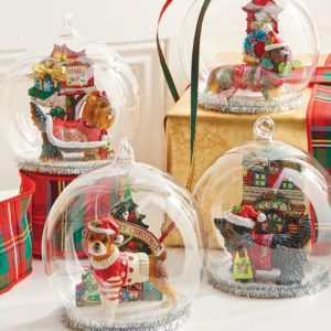 dog snow globe christmas ornament
