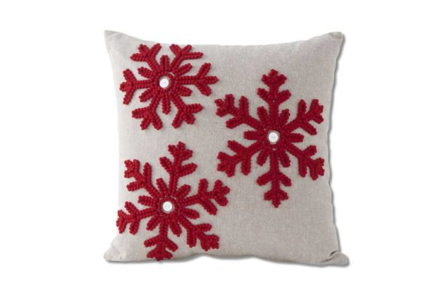 red snowflake canvas throw pillow