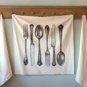 Fork, Knife, Spoon Cotton Flour Sack Tea Towel