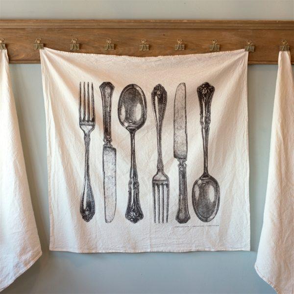 Fork, Knife, Spoon Cotton Flour Sack Tea Towel