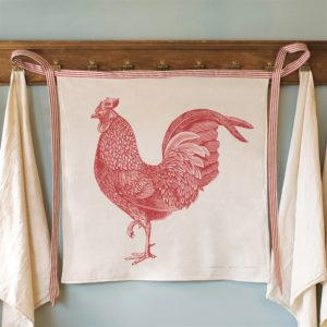 Red Rooster Cotton Waist Kitchen Apron