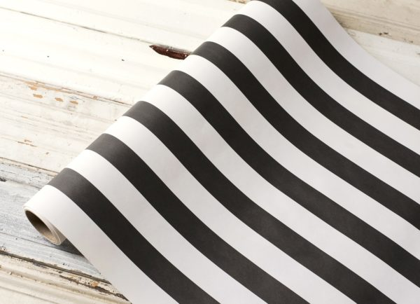 Black Classic Stripe Paper Table Runner