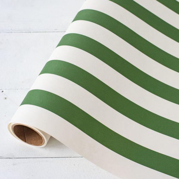 Dark Green Classic Stripe Paper Table Runner
