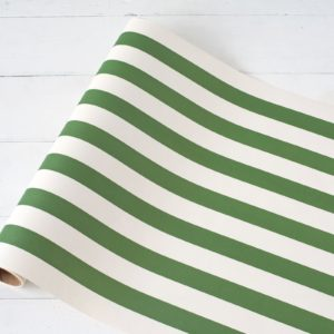 Dark Green Classic Stripe Paper Table Runner