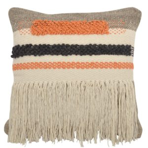 Foreside Hand Woven Morgan Fringe Throw Pillow
